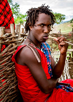 Maasai Man Cleaning Teeth (Kenya)